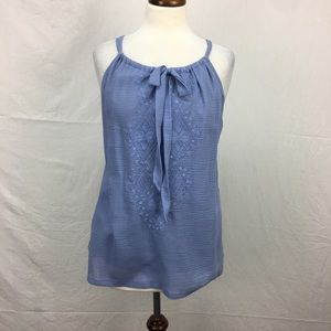 Tommy Bahama Blue Embroidered Halter Top